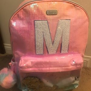 """NWT """"Justice"""" ombre initial M shaky backpack"""